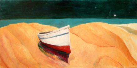 beached boat stepehen james artist Australia oil painting
