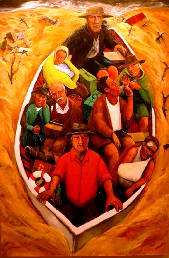 flood boat oil painting artist stephen james australia