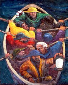 rescue boat oil on canvas stephen james artist Australia