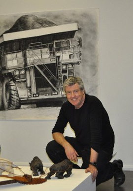 "Steve James and his drawing ""Bloody Big Truck"""