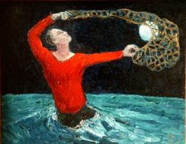moonboy oil on canvas stephen james  artist  Australia