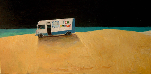 streets van on beach oil on canvas artist stephen james australia