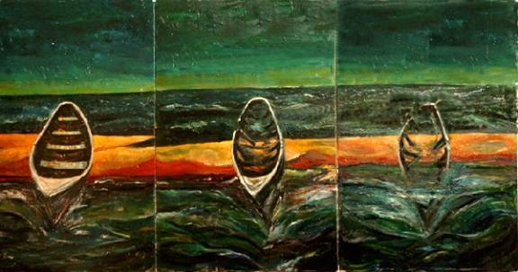 """""""Whaleboat"""" Tripych,oil on canvas 320cmx60cm"""